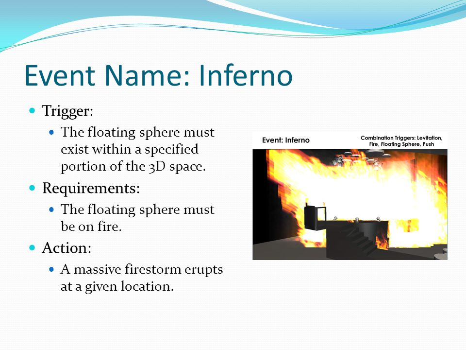 Event Name: Inferno Trigger: The floating sphere must exist within a specified portion of the 3D space.
