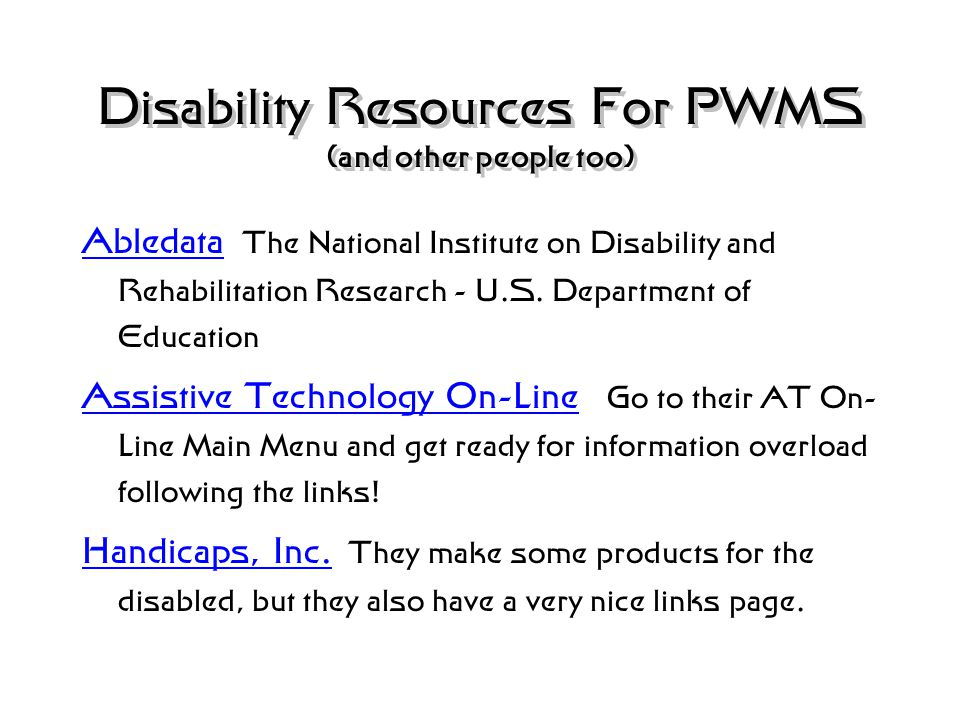 Disability Resources For PWMS (and other people too) Brejcha Personal and Disability Resource Site Brejcha Personal and Disability Resource Site F.