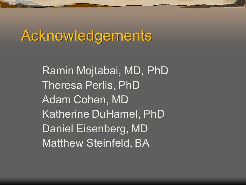 Acknowledgements Ramin Mojtabai, MD, PhD Theresa Perlis, PhD Adam Cohen, MD Katherine DuHamel, PhD Daniel Eisenberg, MD Matthew Steinfeld, BA