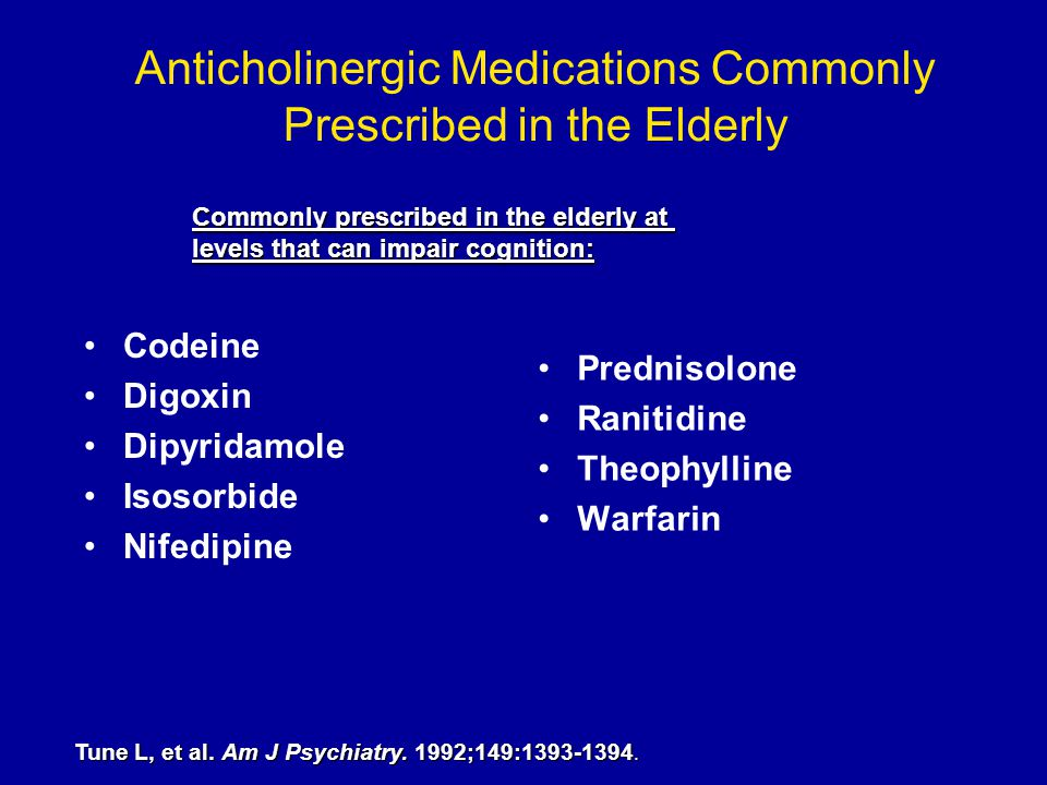 Anticholinergic Medications Commonly Prescribed in the Elderly Codeine Digoxin Dipyridamole Isosorbide Nifedipine Prednisolone Ranitidine Theophylline