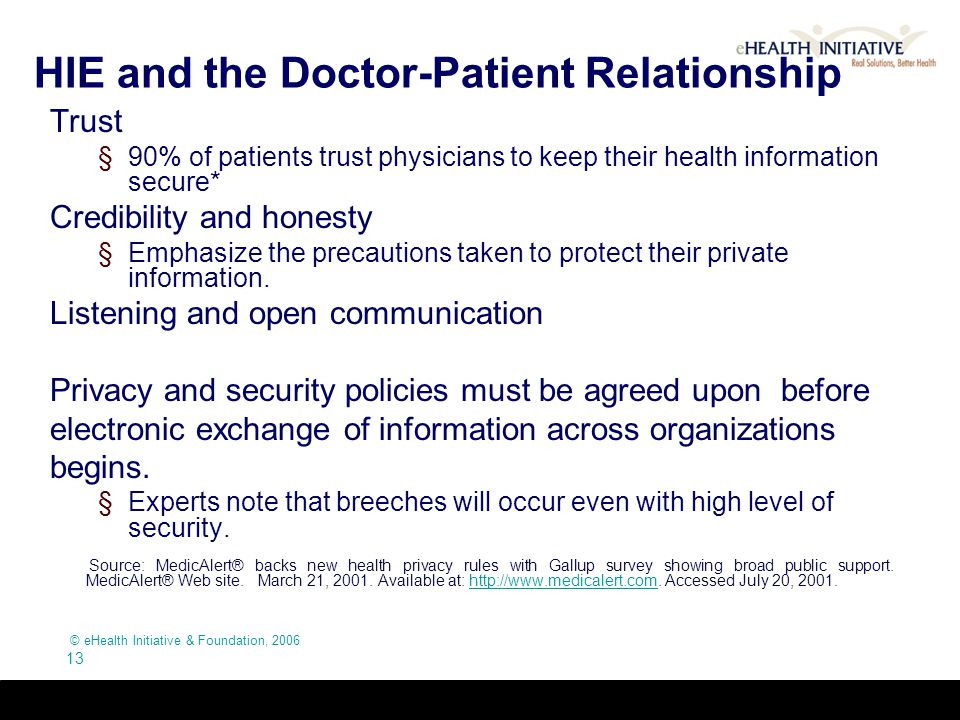 © eHealth Initiative & Foundation, 2006 13 HIE and the Doctor-Patient Relationship Trust §90% of patients trust physicians to keep their health inform
