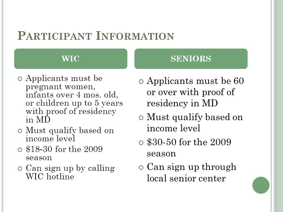 P ARTICIPANT I NFORMATION Applicants must be pregnant women, infants over 4 mos. old, or children up to 5 years with proof of residency in MD Must qua