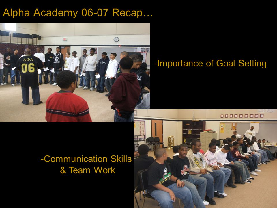 Alpha Academy 06-07 Recap… -Importance of Goal Setting -Communication Skills & Team Work