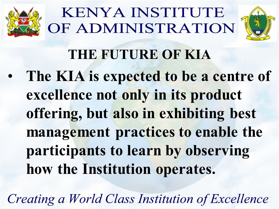  The linkage between public service requirements and KIA products and services.