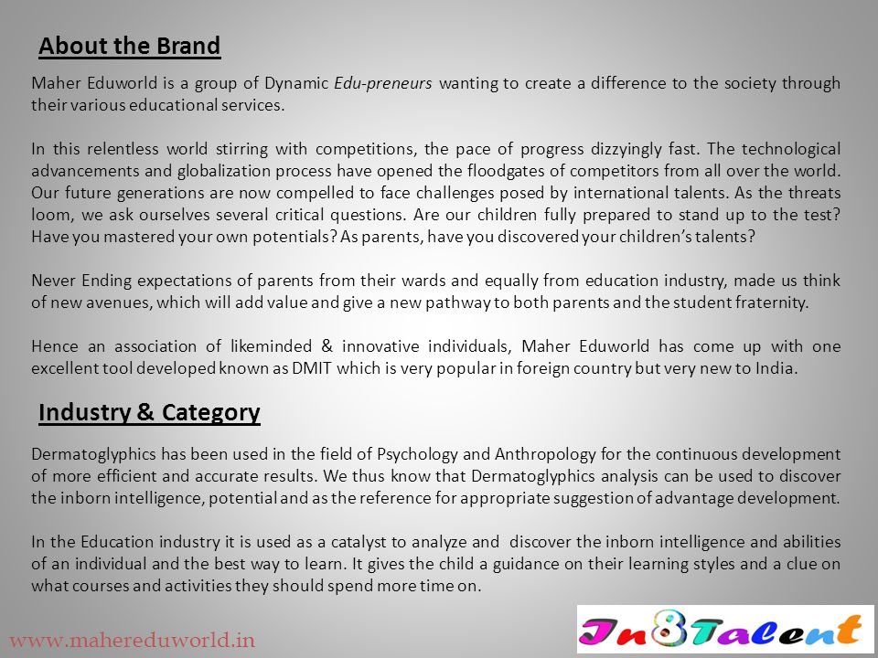 How are we better than other companies in same business Report Parameters In8TalentOther Companies Allocation Of Various Abilities √√ Secret Of Left - Right Brain √√ Grasping & Understanding Capacity - ATD Angle √√ Objective Driven - Concept Driven √√ VAK - Learning Style √√ Learning & Communication Style - Basic Nature √√ Quotient Distribution √√ Multiple Intelligence Distribution √√ Explanation Of Each Intelligence √√ Elements Of Each Intelligence √× Career Guidance √× Job Functions √× Counselling Summary √× Retail Business Experience √× Commercials After Free Reports Rs 900 + TaxRs 1100 to Rs 1350 + Tax www.mahereduworld.in