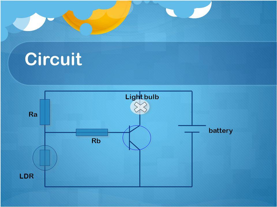 Circuit LDR battery Rb Ra Light bulb