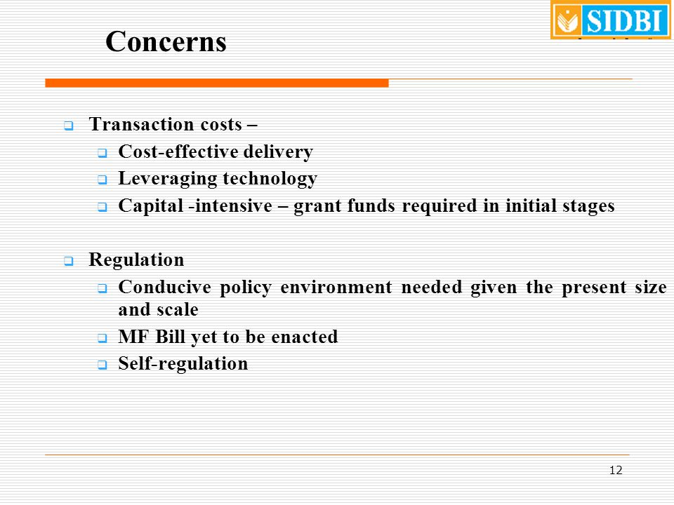 12 Concerns  Transaction costs –  Cost-effective delivery  Leveraging technology  Capital -intensive – grant funds required in initial stages  Regulation  Conducive policy environment needed given the present size and scale  MF Bill yet to be enacted  Self-regulation