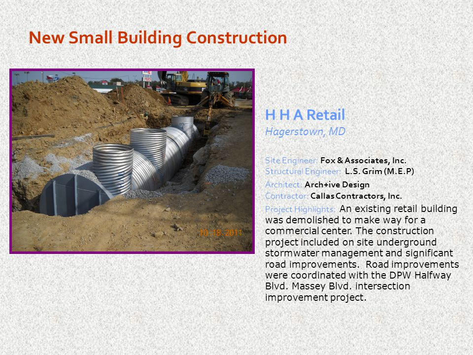 New Small Building Construction High's Dairy Store Smithsburg, MD Site Engineer: Messick and Associates MEP Engineer: PE Services Architect: L2M Architects Contractor: Frank J.