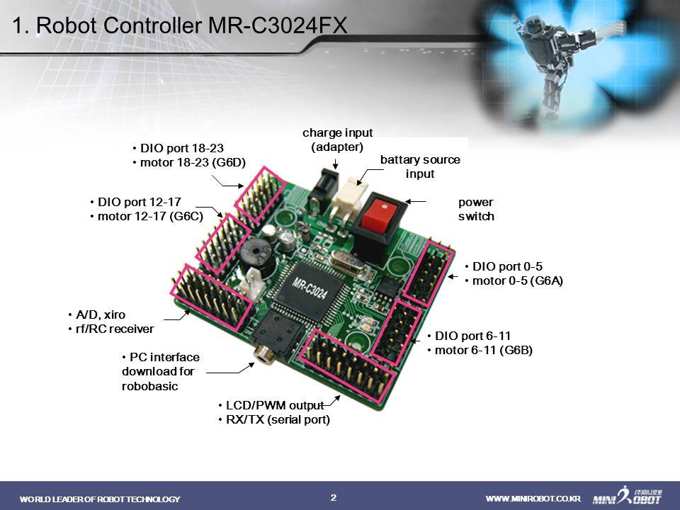WORLD LEADER OF ROBOT TECHNOLOGY WWW.MINIROBOT.CO.KR 2 power switch battary source input charge input (adapter) DIO port 0-5 motor 0-5 (G6A) DIO port