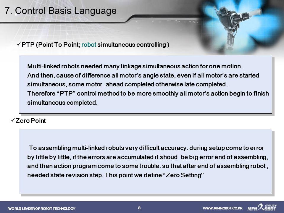 WORLD LEADER OF ROBOT TECHNOLOGY WWW.MINIROBOT.CO.KR 9 1.