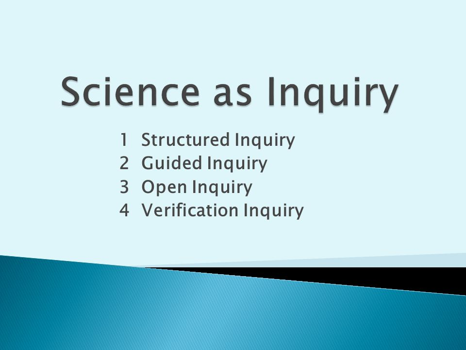 1 Structured Inquiry 2 Guided Inquiry 3 Open Inquiry 4 Verification Inquiry