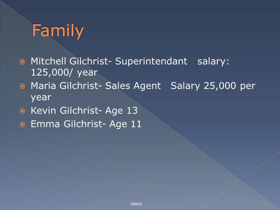  Mitchell Gilchrist- Superintendant salary: 125,000/ year  Maria Gilchrist- Sales Agent Salary 25,000 per year  Kevin Gilchrist- Age 13  Emma Gilchrist- Age 11 32653