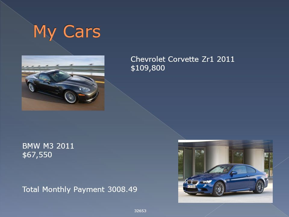 32653 Chevrolet Corvette Zr1 2011 $109,800 BMW M3 2011 $67,550 Total Monthly Payment 3008.49