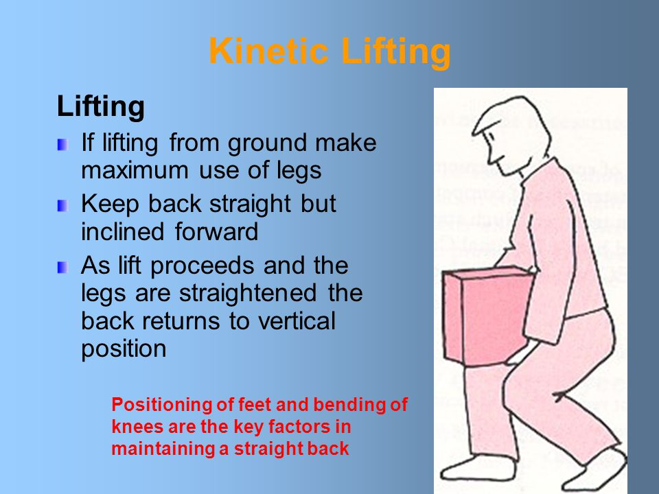 Kinetic Lifting Straight Back Lower the body by relaxing the knees Keep your back straight (but not vertical) Keep load close to body Keep chin in and