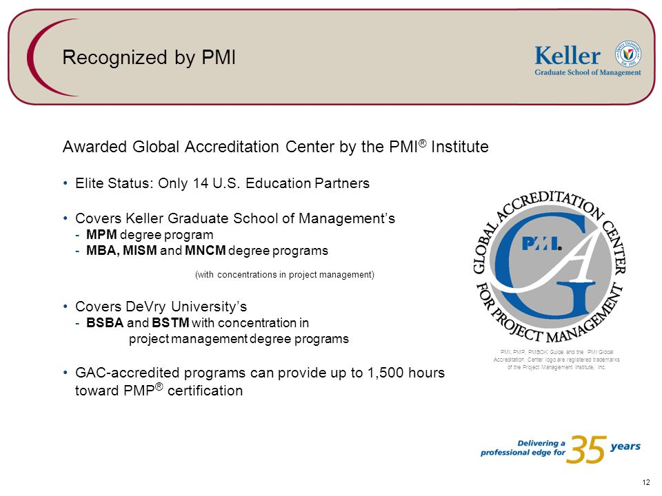 12 Recognized by PMI Awarded Global Accreditation Center by the PMI ® Institute Elite Status: Only 14 U.S.