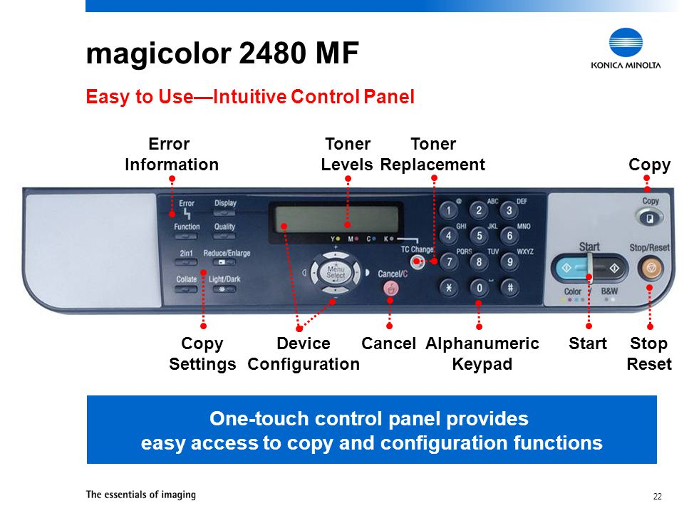 21 magicolor 2480 MF  Easy-to-view LCD message window  One-touch control for common functions  Easy-to-navigate menu system  Gas gauges to report