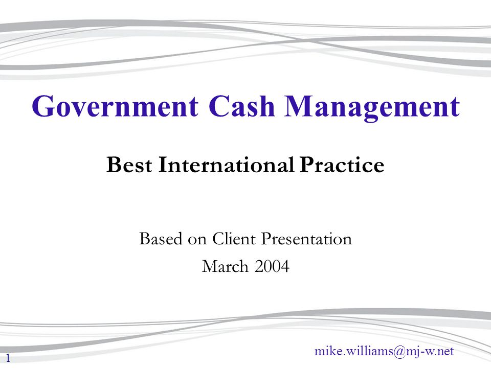 mike.williams@mj-w.net 1 Government Cash Management Best International Practice Based on Client Presentation March 2004