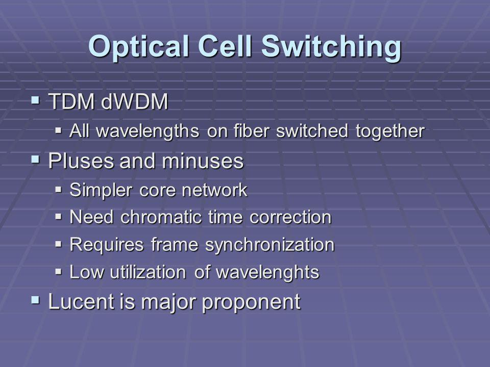 Optical Cell Switching  TDM dWDM  All wavelengths on fiber switched together  Pluses and minuses  Simpler core network  Need chromatic time correction  Requires frame synchronization  Low utilization of wavelenghts  Lucent is major proponent