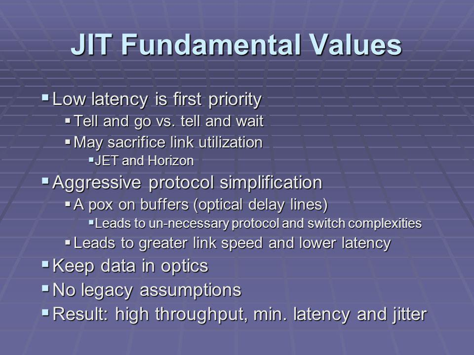 JIT Fundamental Values  Low latency is first priority  Tell and go vs.