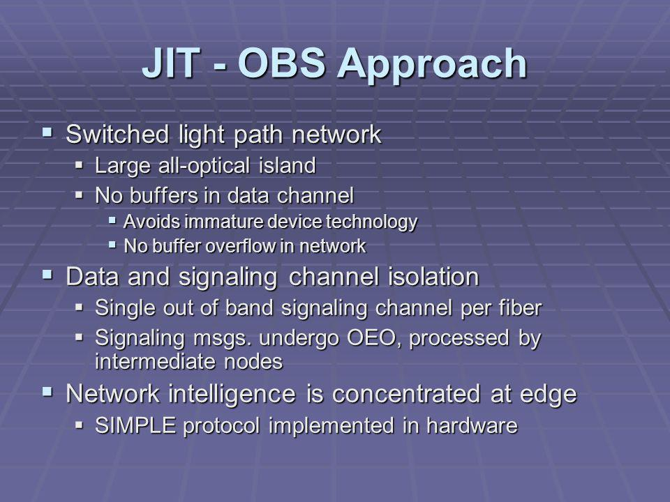 JIT - OBS Approach  Switched light path network  Large all-optical island  No buffers in data channel  Avoids immature device technology  No buffer overflow in network  Data and signaling channel isolation  Single out of band signaling channel per fiber  Signaling msgs.