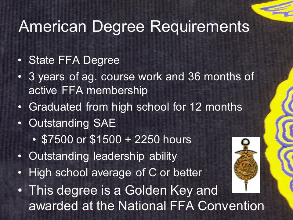 American Degree Requirements State FFA Degree 3 years of ag.
