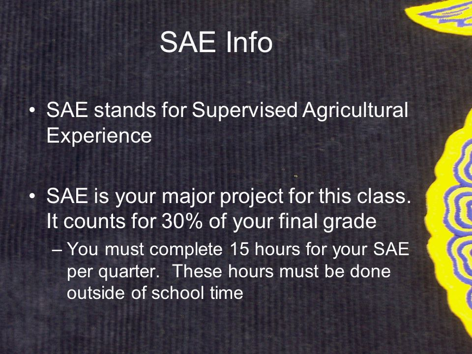 SAE Info SAE stands for Supervised Agricultural Experience SAE is your major project for this class.