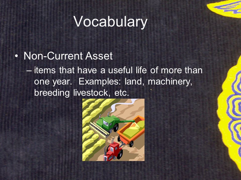 Vocabulary Non-Current Asset –items that have a useful life of more than one year.
