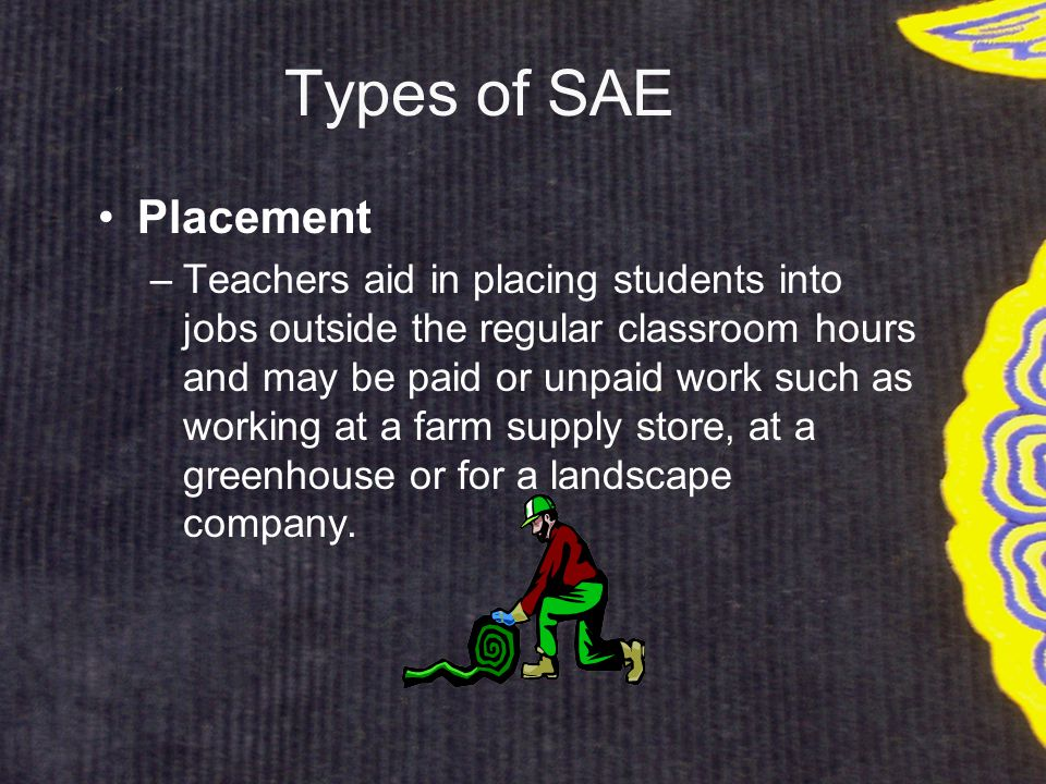 Types of SAE Exploratory –helps students learn about agriculture and become aware of possible agricultural careers through short times spent observing, shadowing or helping such as attending a career day, interviewing a veterinarian or assisting a horse owner.