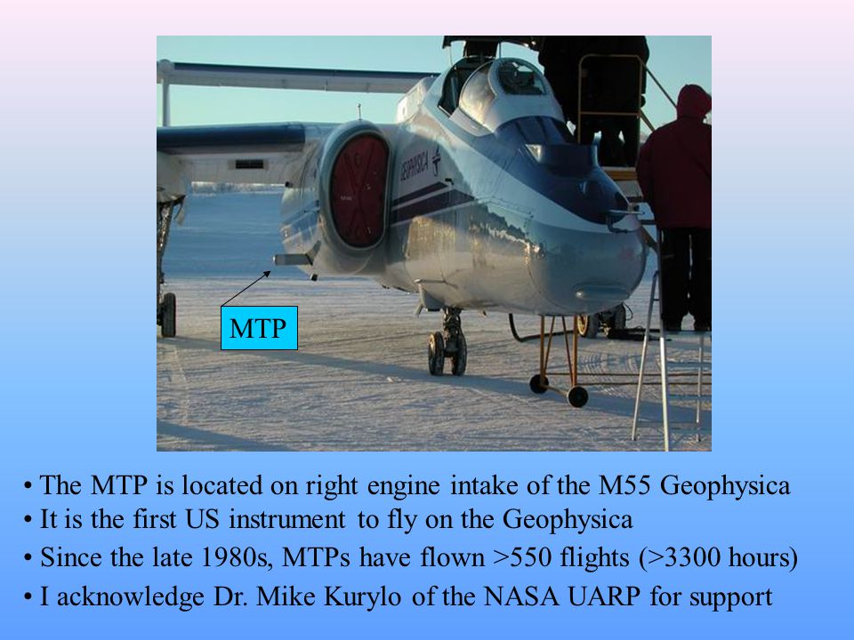 MTP The MTP is located on right engine intake of the M55 Geophysica It is the first US instrument to fly on the Geophysica Since the late 1980s, MTPs