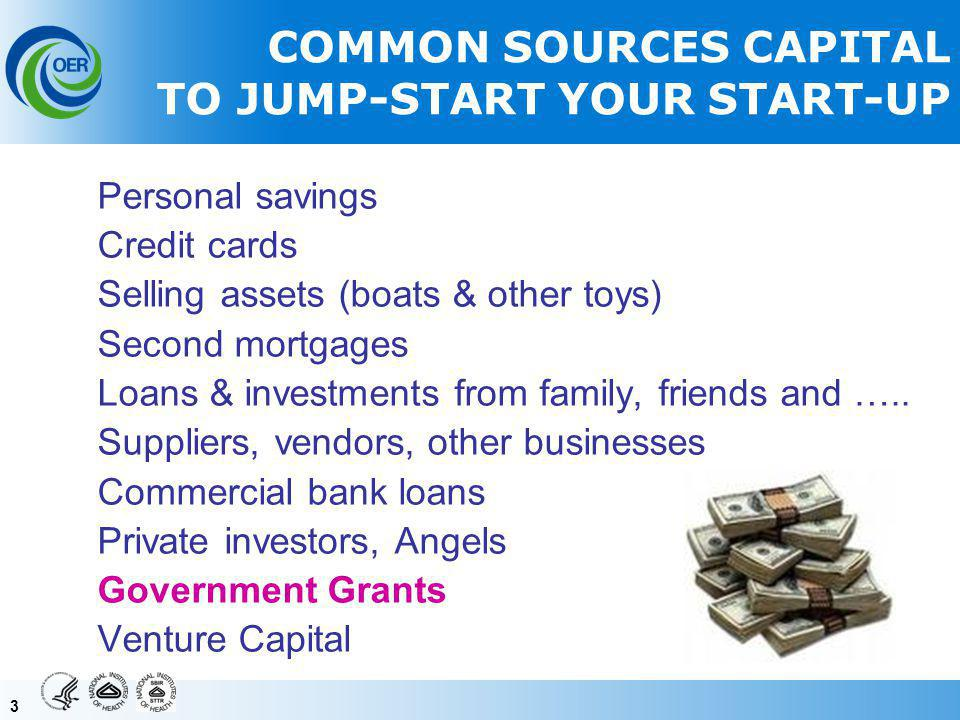 33 COMMON SOURCES CAPITAL TO JUMP-START YOUR START-UP Personal savings Credit cards Selling assets (boats & other toys) Second mortgages Loans & investments from family, friends and …..
