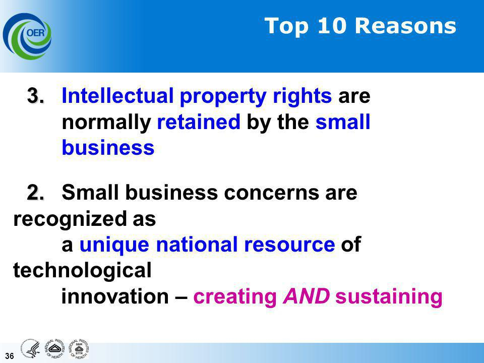36 3. 3. Intellectual property rights are normally retained by the small business 2.