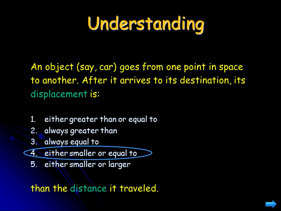 Understanding An object (say, car) goes from one point in space to another. After it arrives to its destination, its displacement is: 1.either greater