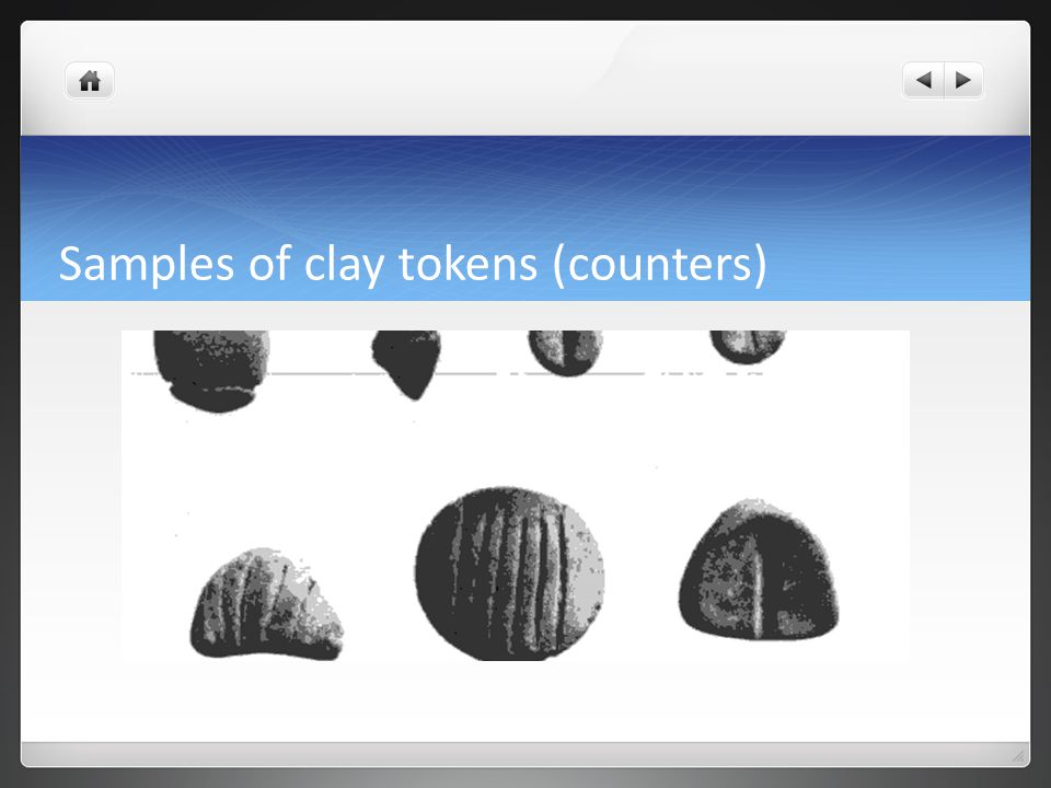 Samples of clay tokens (counters)