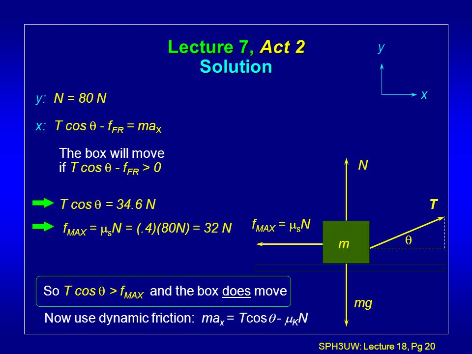 SPH3UW: Lecture 18, Pg 20 Lecture 7, Act 2 Solution T m f MAX =  s N N mg y x x: T cos  - f FR = ma X y: N = 80 N The box will move if T cos  - f F