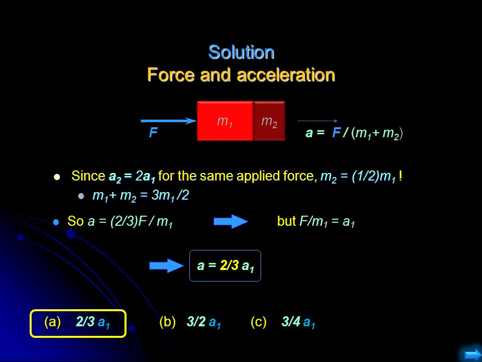 Solution Force and acceleration Since a 2 = 2a 1 for the same applied force, m 2 = (1/2)m 1 ! Since a 2 = 2a 1 for the same applied force, m 2 = (1/2)