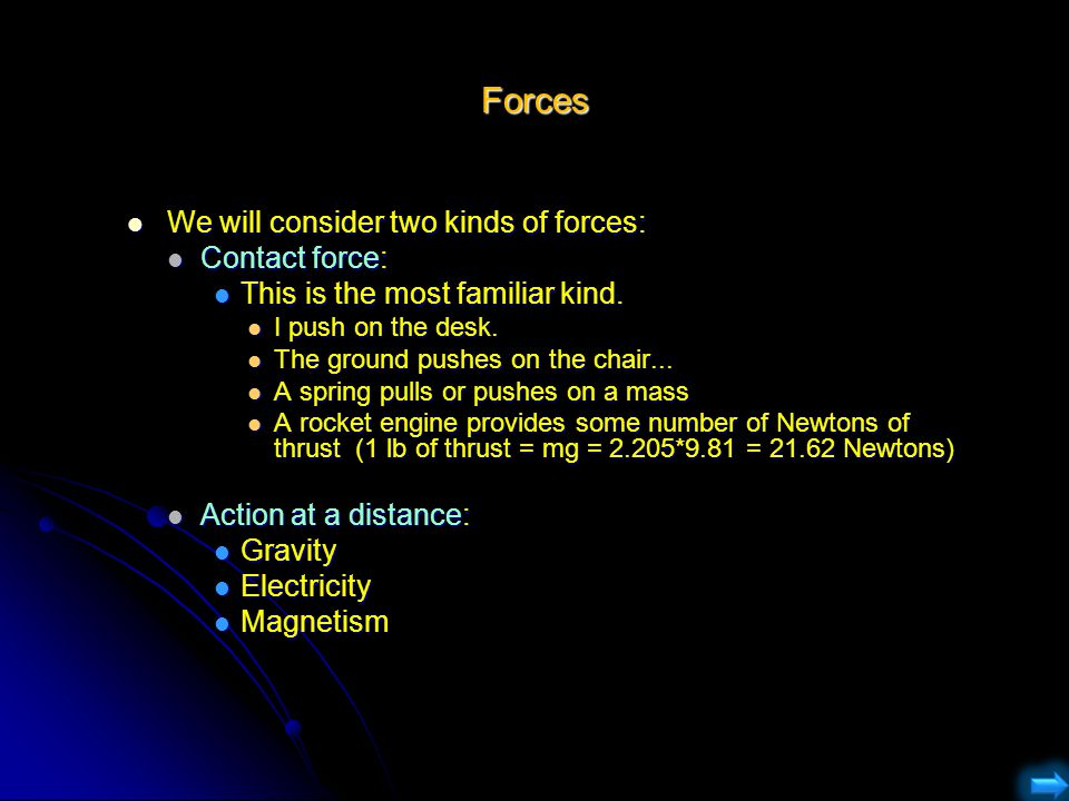 Forces We will consider two kinds of forces: We will consider two kinds of forces: Contact force: Contact force: This is the most familiar kind. This