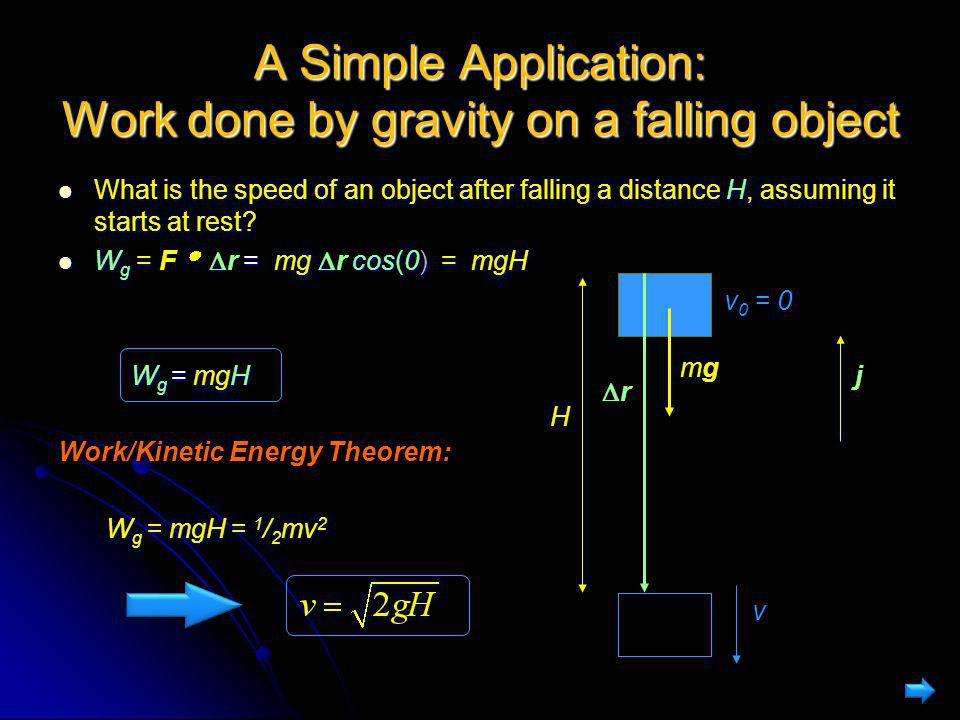 A Simple Application: Work done by gravity on a falling object What is the speed of an object after falling a distance H, assuming it starts at rest?