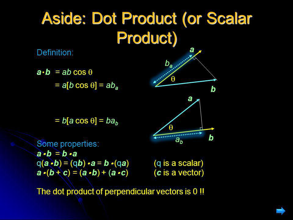 Aside: Dot Product (or Scalar Product) Definition: ab a. b= ab cos  = a[b cos  ] = ab a = b[a cos  ] = ba b Some properties: a  bb  a a  b= b 