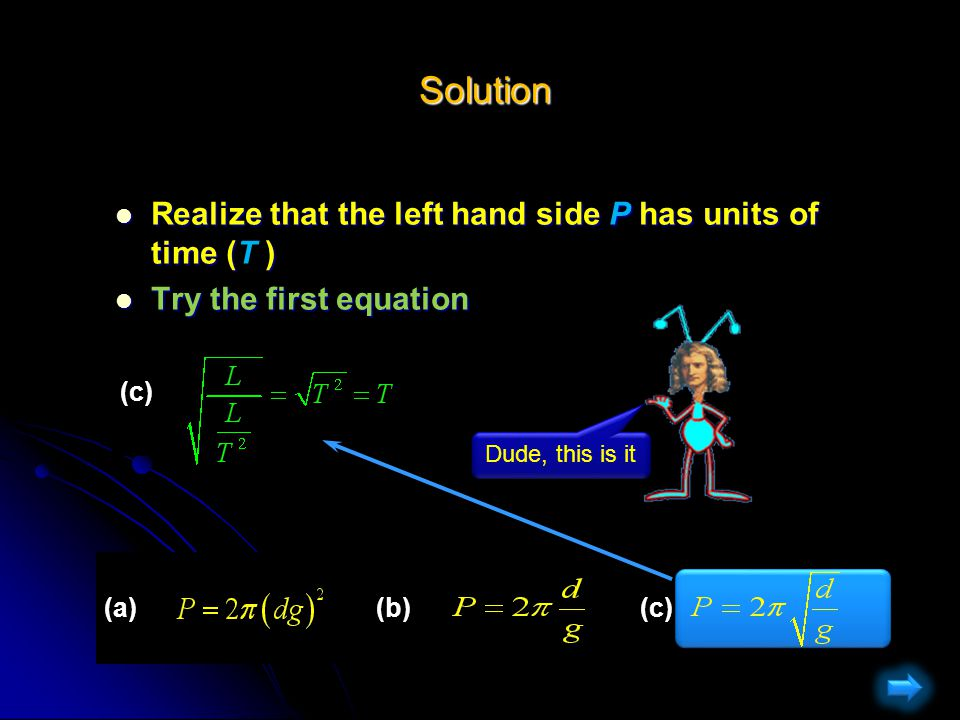 Solution Solution Realize that the left hand side P has units of time (T ) Realize that the left hand side P has units of time (T ) Try the second equation Try the second equation (a)(b)(c) (b) Not Right!