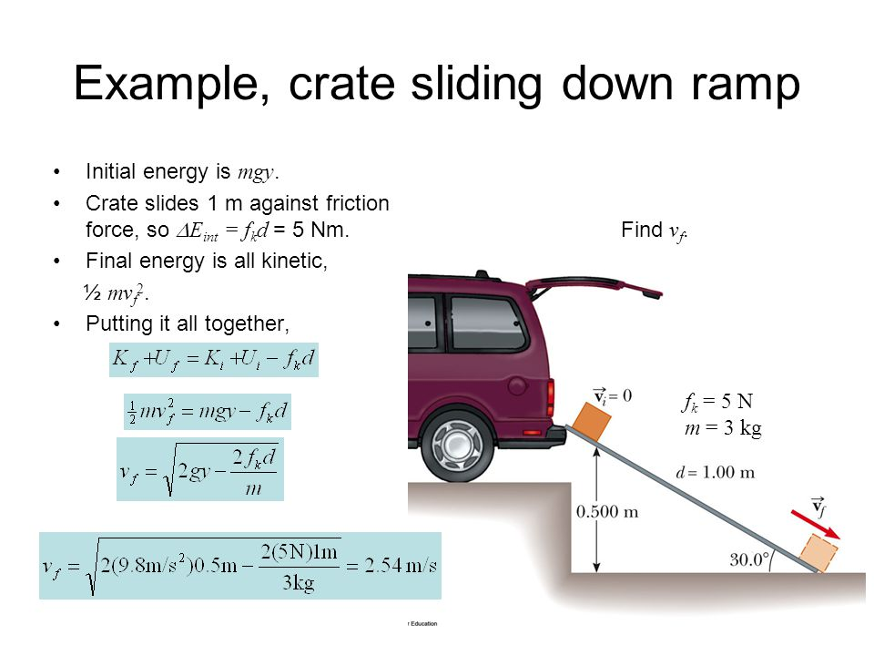 Example, crate sliding down ramp Initial energy is mgy.