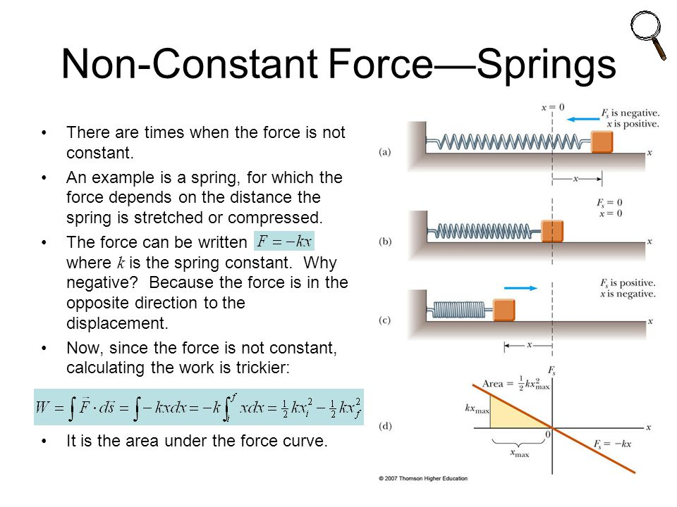 Non-Constant Force—Springs There are times when the force is not constant.