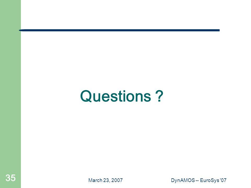 March 23, 2007DynAMOS -- EuroSys '07 35 Questions ?