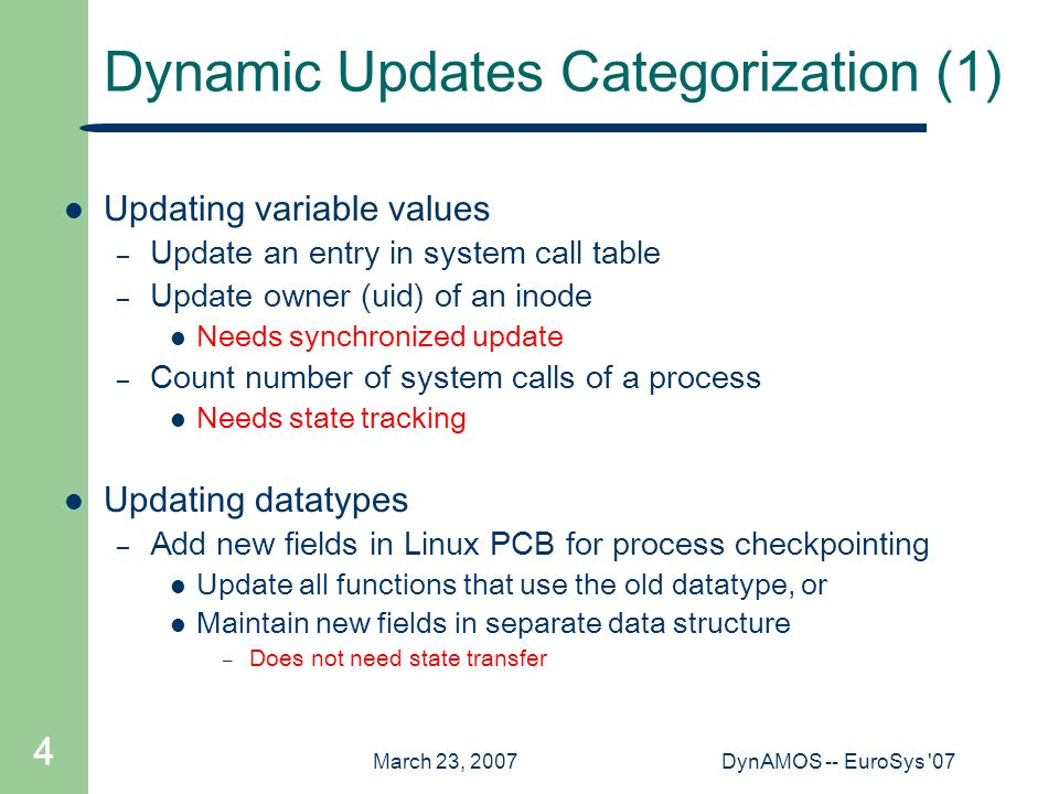 March 23, 2007DynAMOS -- EuroSys '07 4 Dynamic Updates Categorization (1) Updating variable values – Update an entry in system call table – Update own