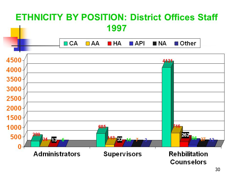 30 ETHNICITY BY POSITION: District Offices Staff 1997