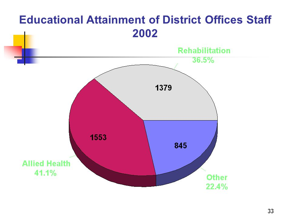 33 Educational Attainment of District Offices Staff 2002