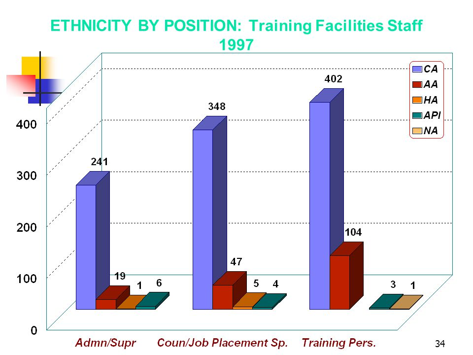 34 ETHNICITY BY POSITION: Training Facilities Staff 1997