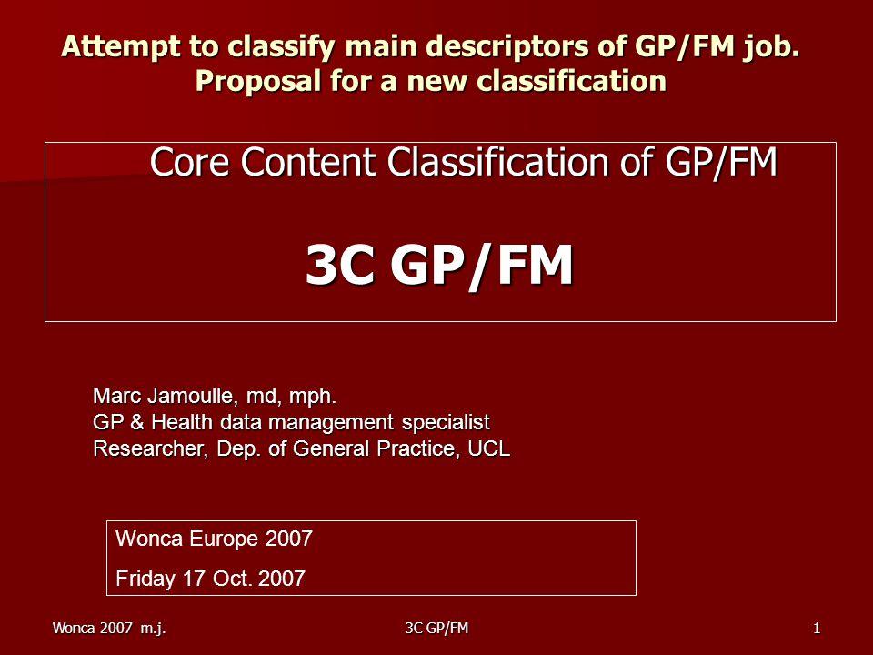 Wonca 2007 m.j.3C GP/FM1 Attempt to classify main descriptors of GP/FM job.