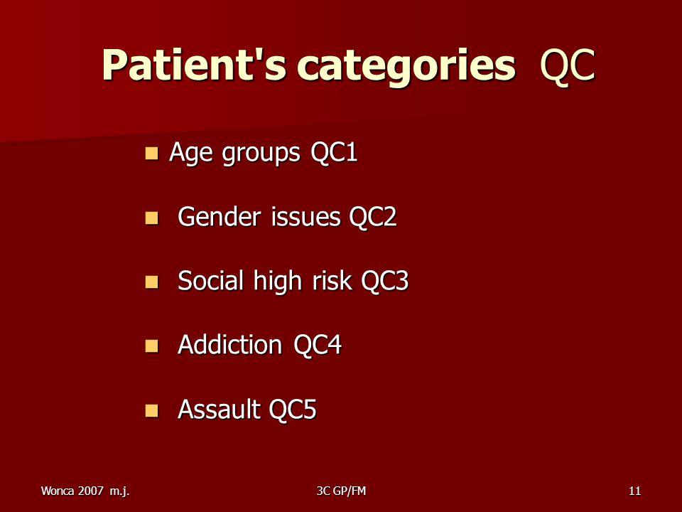 Wonca 2007 m.j.3C GP/FM11 Patient s categories QC Patient s categories QC Age groups QC1 Age groups QC1 Gender issues QC2 Gender issues QC2 Social high risk QC3 Social high risk QC3 Addiction QC4 Addiction QC4 Assault QC5 Assault QC5
