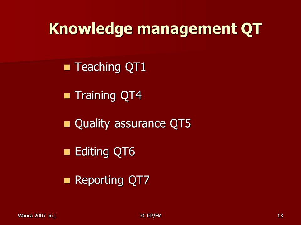 Wonca 2007 m.j.3C GP/FM13 Knowledge management QT Knowledge management QT Teaching QT1 Teaching QT1 Training QT4 Training QT4 Quality assurance QT5 Quality assurance QT5 Editing QT6 Editing QT6 Reporting QT7 Reporting QT7