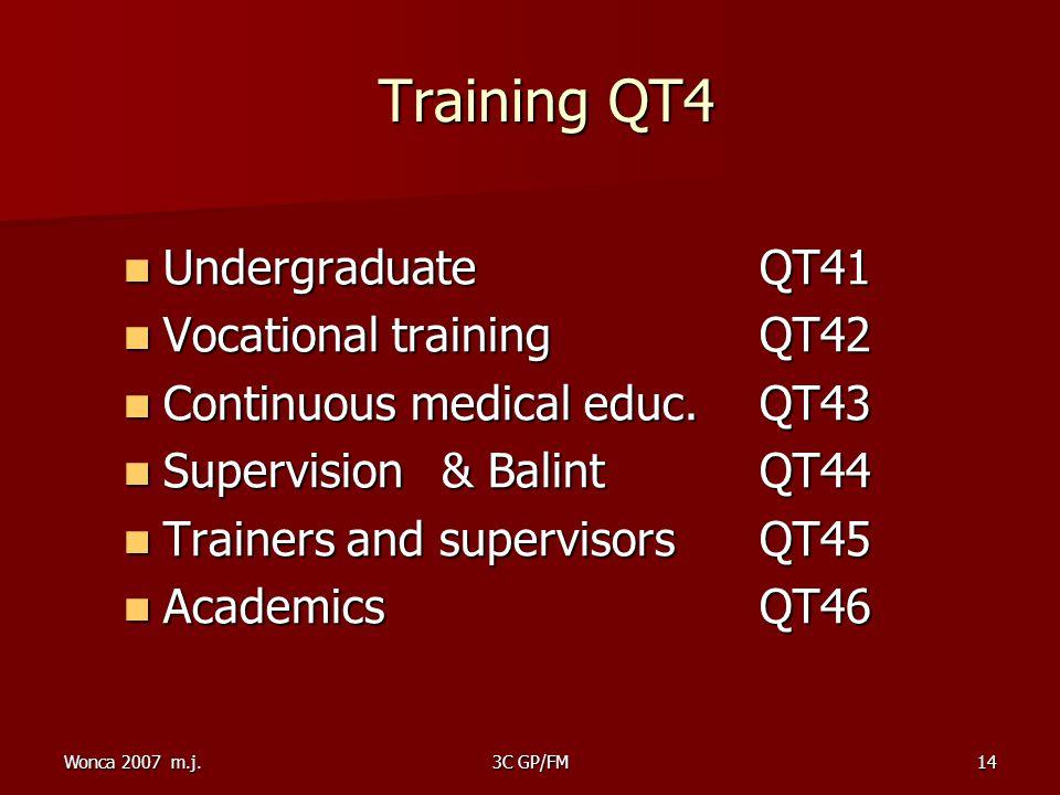Wonca 2007 m.j.3C GP/FM14 Training QT4 Training QT4 Undergraduate QT41 Undergraduate QT41 Vocational training QT42 Vocational training QT42 Continuous medical educ.